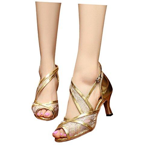 misu - Zapatillas de danza para mujer negro negro dorado