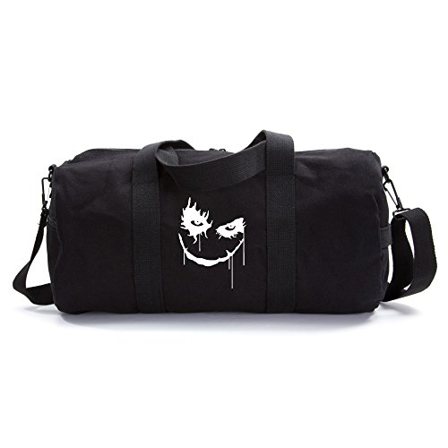 Cheap The Joker Face Army Sport Heavyweight Canvas Duffel Bag in Black, Large