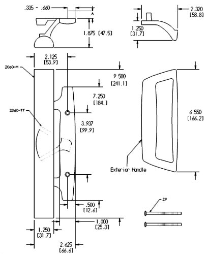 """Bali Nai Sliding Glass Door Handle and Mortise Lock Set with Oak Wood Pull in White Finish, Standard 3-15/16"""" CTC Screw Holes, 1-1/2'' Door Thickness by FPL Door Locks and Hardware Inc. (Image #2)"""
