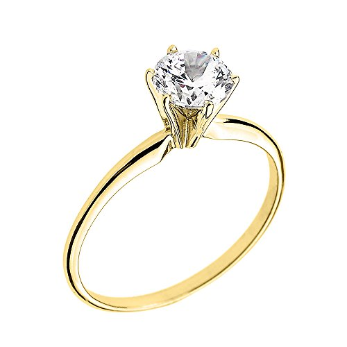 14k Yellow Gold Elegant Cubic Zirconia Solitaire Engagement Ring(Size 6)