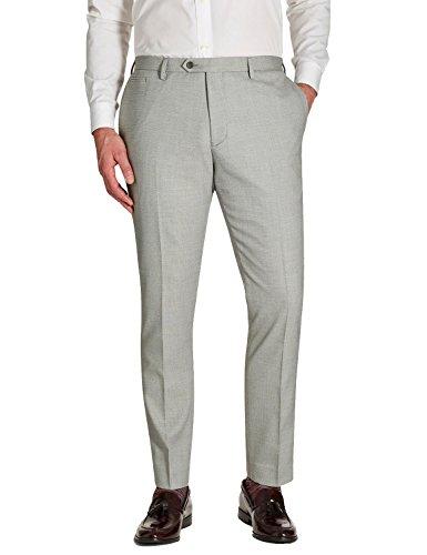 Mens Casual Fashion Slim Fit Flat Straight Iron Free Pants Light Grey 34W30L ()