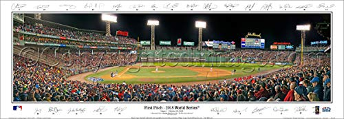 SportPicturesOnline Boston Red Sox 2018 World Series Game One First Pitch with Facsimile Signatures.15.5x41 Deluxe Brown Wood Frame with Plexi Glass