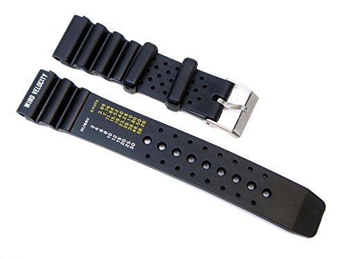 20mm for Citizens Black Rubber Wind Velocity Divers Watch Band Strap ()