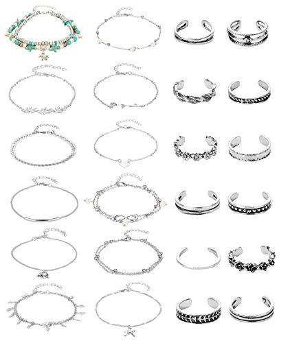 Masedy 24 Pcs Anklets Toe Rings for Women Girls Bracelets Anklets Adjustable Open Toe Ring Beach Foot Jewelry Silver (Ring Toe Anklet Set)