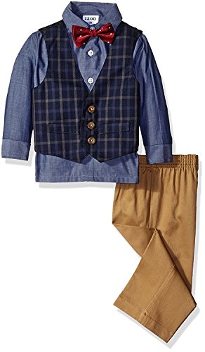 IZOD Little Boys' Four Piece Formal Vest Set, Dark Blue, 6