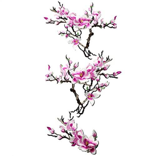 Top Cheer 1pcs Embroidery Jade Orchid Flower Iron on Sew on Patches Embroidery Applique Patches for Jeans, Collar Bust Dress, Clothing, Bags (Jade Orchid Flower)