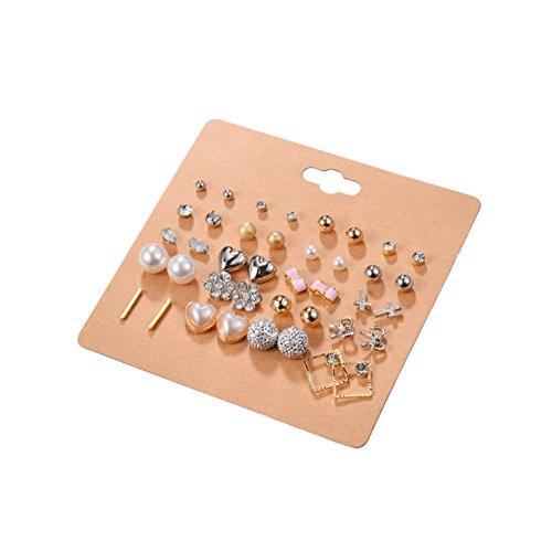 MileMelo Earring Studs Kit 20 Pairs - Pearls, Metal Beads, Bowtie, Cross, Heart