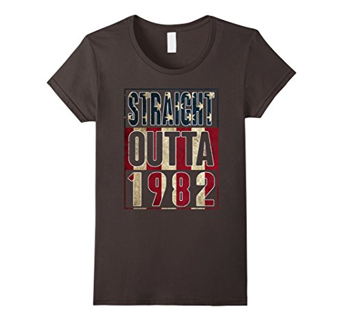 [Womens 35th Birthday Straight outta 1982 American flag T Shirt XL Asphalt] (1982 Flag)