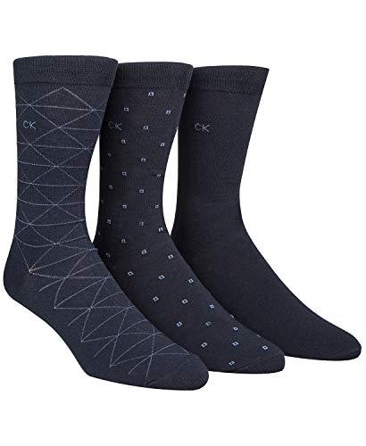 Calvin Klein Men's 3 Pack Fashion Geometric, Navy, Sock Size: 10-13/Shoe Size:9-11 Calvin Klein Cotton Dress Socks