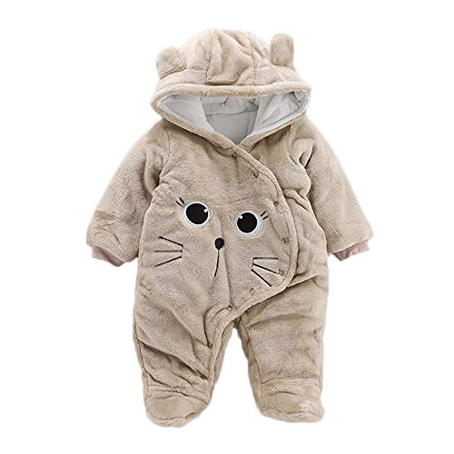 Sunbona Baby Winter Snowsuit Newborn Infant Boys Girls Cartoon Hooded Keep Warm Bunting Romper Jumpsuit Jacket Coat Outerwear (3-6Months, Khaki)