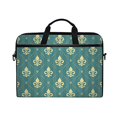 (TARTINY 15-15.4 Inch Laptop Bag Splendor Regal Seamless Pattern Light Yellow Shoulder Messenger Bags Sleeve Case Tablet Briefcase with Handle Strap)