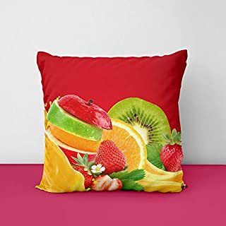 Colorful Strawberries Bananas Apples Kiwi Orange Square Design Printed Cushion Cover