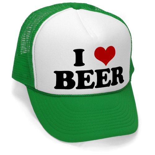 (I HEART BEER - funny joke party gag Mesh Trucker Cap Hat, Green)