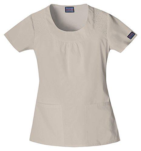 Cherokee Workwear Women's Elasticized Scoop Neck Shirt_Khaki_X-Small,4761 (Womens Neck Scoop Cherokee)