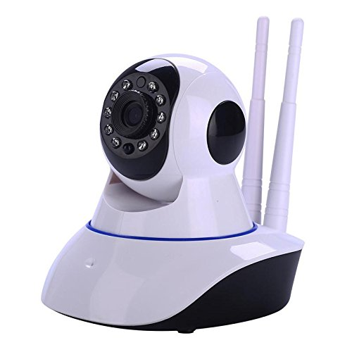 SANOXY USB-CAM_5MP-Round Round IP Webcam with Microphone and Dome Camera Pan/Tilt/Zoom Wireless IP Indoor Security Surveillance System 720p HD Night Vision, White