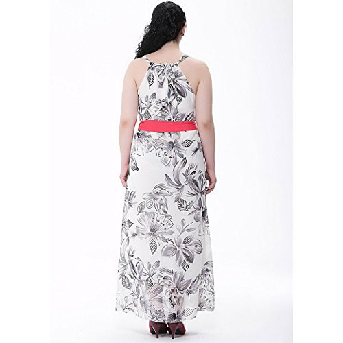 FEOYA Verano Vestido Largo de Chifón Estampado Floral sin Mangas Alta Cintura Floor Length Dress para Mujer Chica Lechoso