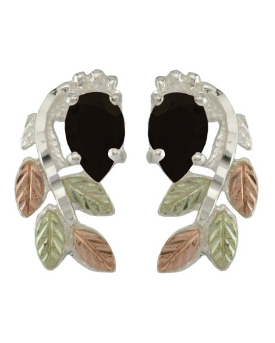 Onyx Pear Petite Leaf Cascade Earrings, Sterling Silver, 12k Green and Rose Gold Black Hills Gold Motif by The Men's Jewelry Store (for HER)