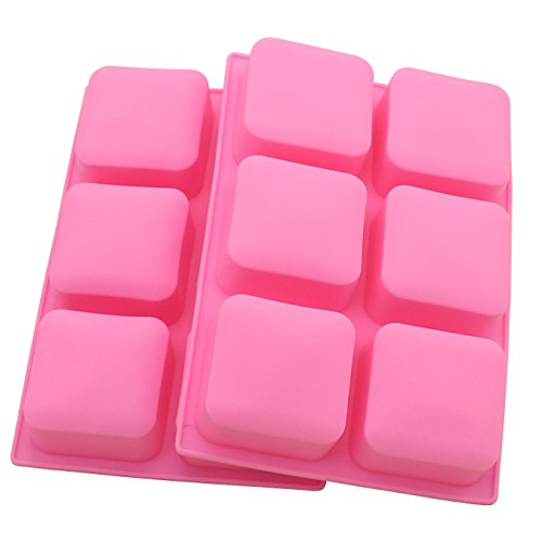 Zicome Square Silicone Mold for Soap Bar Making, Set of 2