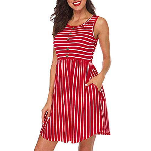 ASOBIMONO Women's Summer Sleeveless Casual Swing T Shirt Dress Stripe Button Up A-Line Mini Dresses with Pockets Red