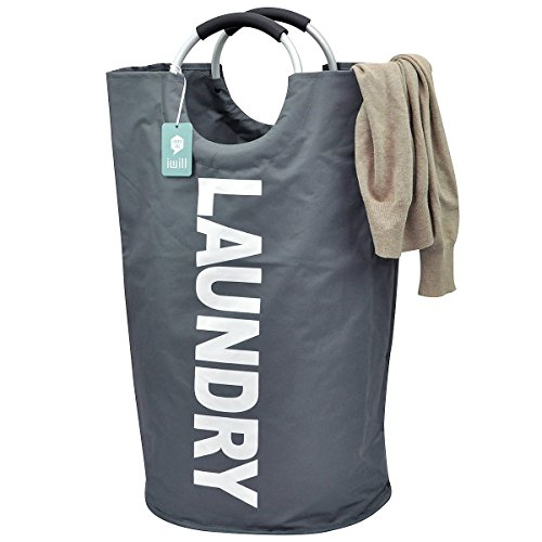 Collapsible College Laundry Bags for Heavy-duty Use with Alloy Handles, Deep Grey