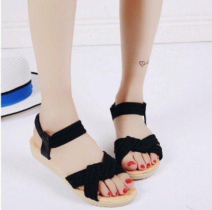 elastico solido semplice sandals di fondo sandali Roma piatto 41 Roman raccordo 2611 nero di colore yalanshop estate pesce 7pOUx