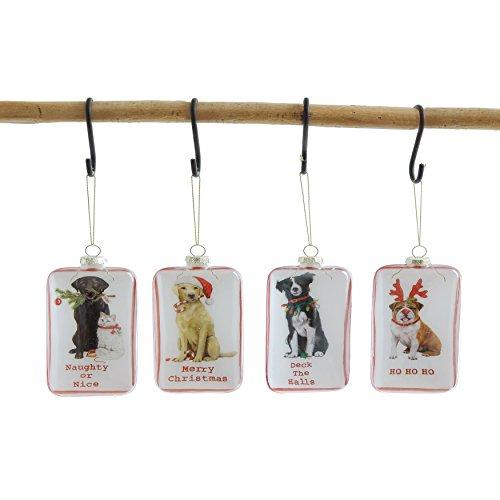 """Set of 4 Shadowbox Glass Dog 6""""H Hanging Christmas Ornaments"""