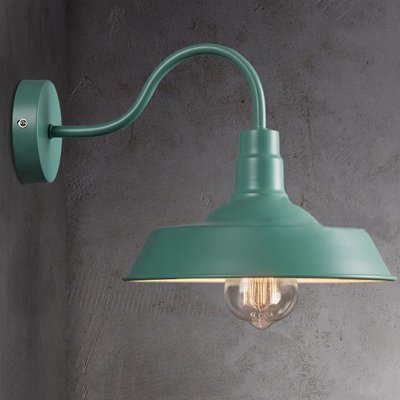 "Industrial Barn Style Wall Sconce - LITFAD 10"" Gooseneck Arm Edison Vintage Metal Wall Lamp Mounted Lighting Fixture Green"