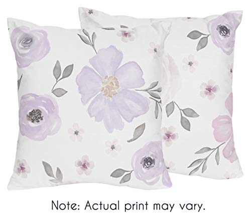 Floral Accent Pillow - Sweet Jojo Designs Lavender Purple, Pink, Grey and White Decorative Accent Throw Pillows for Watercolor Floral Collection - Set of 2 Rose Flower