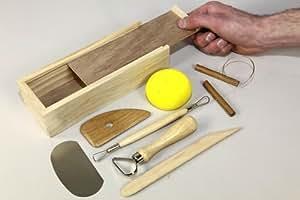 Kit de 8 utensilios para alfarería (incluye caja de madera)