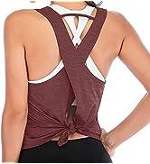 REVETRO Womens Workout Yoga Tops Cross Back Sleeveless Athletic Racerback Tank Tops Backless Gym ...