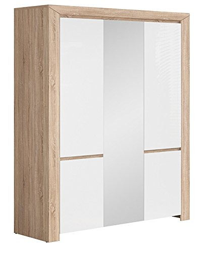 BlackRedWhite Danton Armario Pintado y Madera Color Blanco Brillante 3 Puertas Espejo: Amazon.es: Hogar