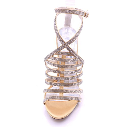 Summer High 04A Sandalias de Rhinestones Heel de high Mujeres De Party Silver Dama Honor Las 7216 Boda Elegant shoes Peep 6Fwq1zY