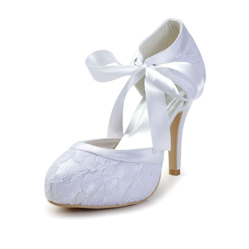 Minishion Gyayl452 Vrouwen Stiletto Hoge Hak Kant Avondfeest Schoenen Bruids Bruiloft Mary Jane Pumps Ivoor-10cm Hak