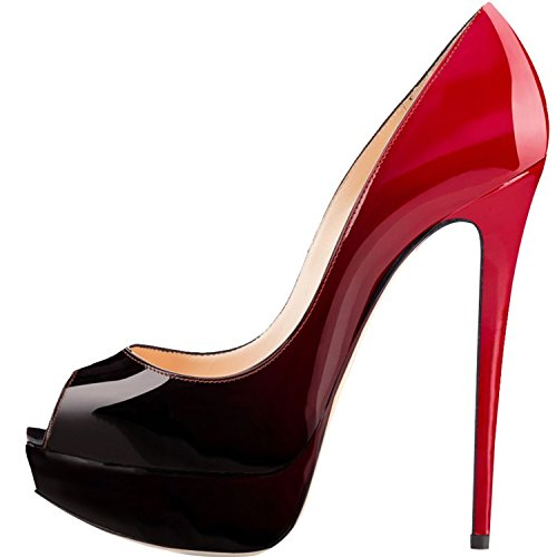 Platform Womens Peep Patent Party Leather Heels Pumps Red Black 14cm Heel High Eldof Toe Sexy Stilettos High ztXpxW