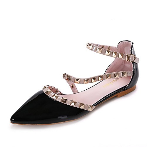 Flats Black Soft AalarDom Shoes Material Pointed Leather Assorted Toe Heel No Color Women's Buckle Patent wqrgw67H