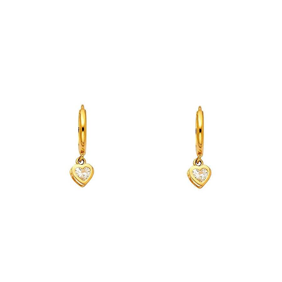 14k Yellow Gold Fancy Huggie Dangle Heart Earrings (6 X 22mm)