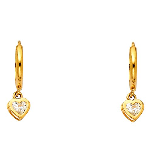 14k Yellow Gold Fancy Huggie Dangle Heart Earrings (6 X 22mm)