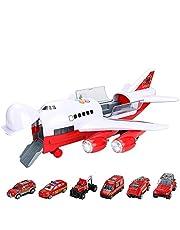 CestMall Vrachtwagens Auto Vliegtuigspeelgoed Brandbestrijdingsset Transport Vrachtvoertuig, educatief speelgoed Elektronisch groot vliegtuig met 6 auto's en 11 verkeersborden Constructiespeelgoedset