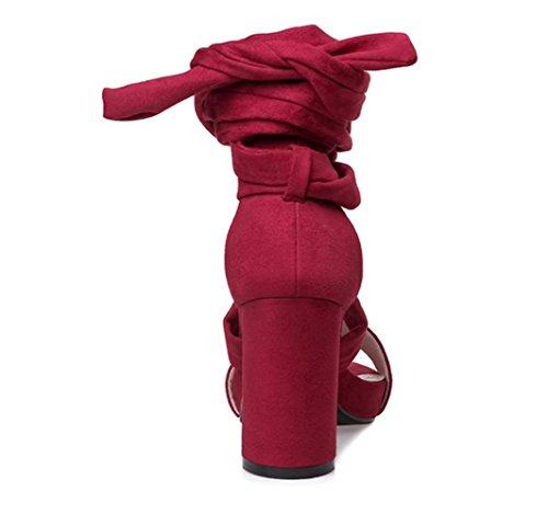 Sandali Primavera Estate Comfort scamosciata Abito tacco grosso delle donne YCMDM , red , us8 / eu39 / uk6 / cn39