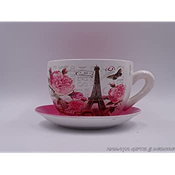 Paris Themed Teacup Shaped Planter With PINK Saucer Decorative, Shabby  Chic, Ceramic Showpiece