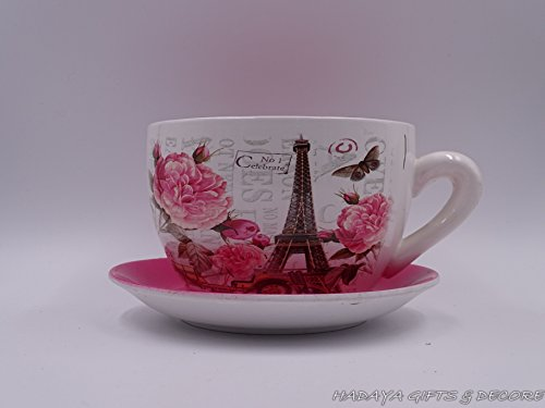 Paris Teacup - Paris Themed Teacup Shaped Planter With PINK Saucer Decorative, Shabby Chic, Ceramic Showpiece