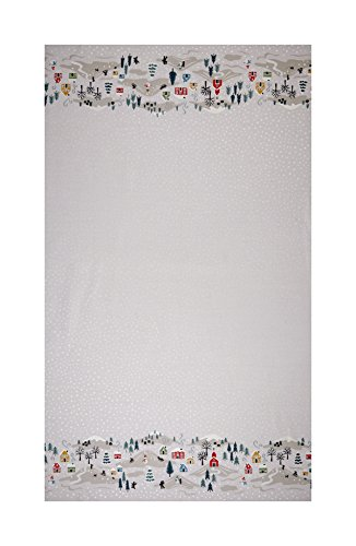 Lewis & Irene Christmas Snow Day Double Border Scene 18in Panel Pearlized Accent Cream Fabric (Pearlized Border)