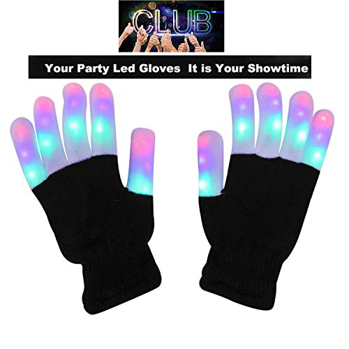 UPBASICN LED Gloves Light Up Rave Gloves, Finger Light Flashing LED Warm Gloves Lights Gloves ---3 Colors 6 Modes for Christmas Birthday Light Show -