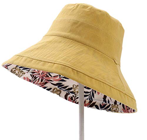 fengdu Summer Women's Double Sided Sun Hat,Butterfly Cotton Cloth. (Yellow)