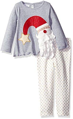 Mud Pie Baby Girl Holiday Two Piece Playwear Set, Santa Dot, 6-9 Months - Mud Pie Santa