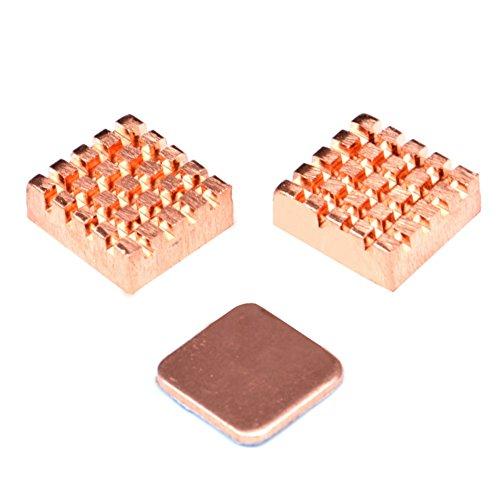 Icstation Solid Copper Heat Sink Cooling Heatsink Set With Adhesive for Raspberry Pi 2 3 Model B Processor VGA RAM