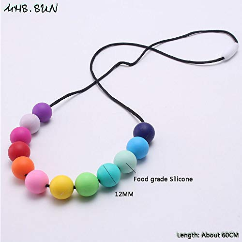 Rainbow Color Silicone Teething Necklace   Food Grade Silicone Nursing Necklace   for Baby Mommy
