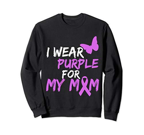I wear Purple for my MOM Butterfly & Ribbon Sweatshirt