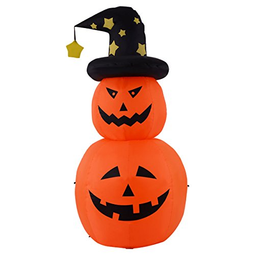 Tangkula 6 FT Inflatable Halloween Rotatable Stack Pumpkin Decoration Lighted Air Blown (Air Blown Inflatables)
