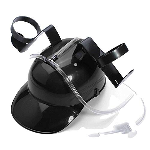 Adjustable Fun Unique Party Game Beer Soda Can Straw Holder Drinking Hard Hat Helmet Black ()